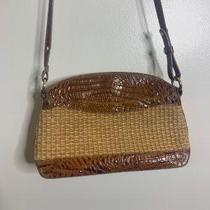 Brahim Brown Croc And Woven Handbag